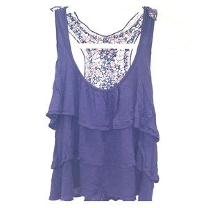 Blue layered tank with lace and floral back